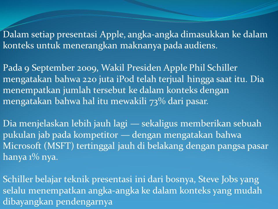 Dalam setiap presentasi Apple, angka-angka dimasukkan ke dalam konteks untuk menerangkan maknanya pada audiens.