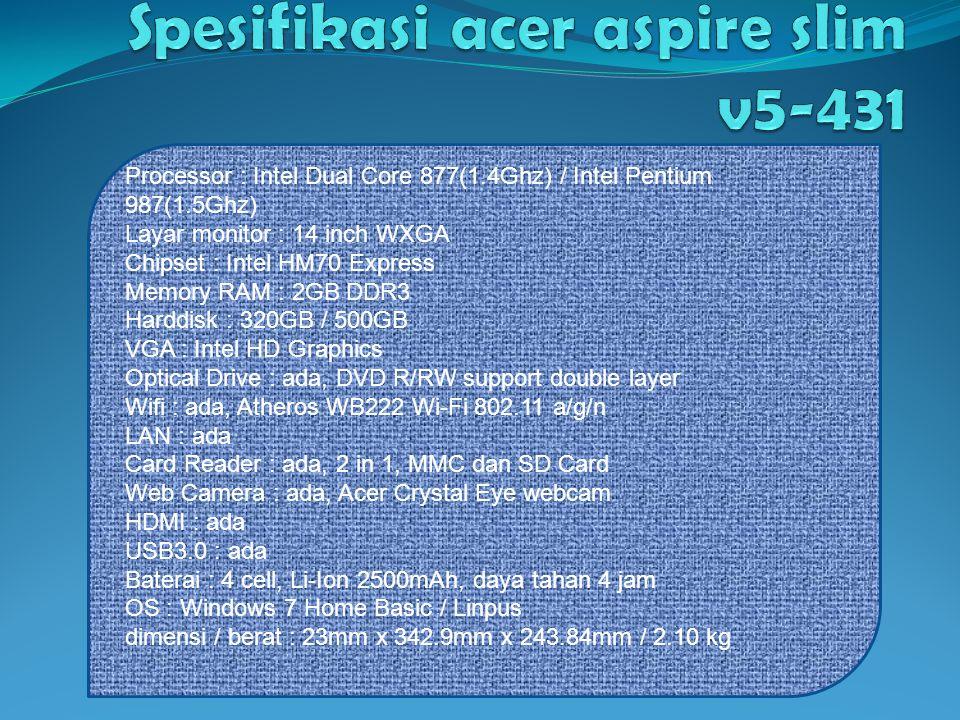 Spesifikasi acer aspire slim v5-431