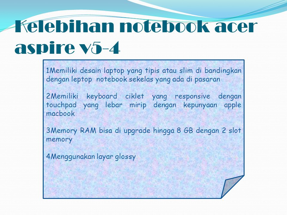 Kelebihan notebook acer aspire v5-4
