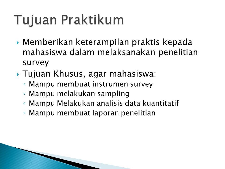Tujuan Praktikum Memberikan keterampilan praktis kepada mahasiswa dalam melaksanakan penelitian survey.