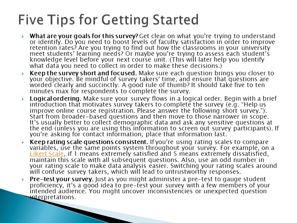 Five Tips for Getting Started