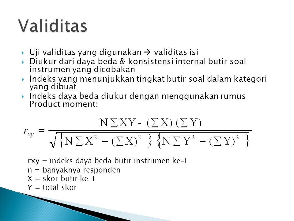 Validitas Uji validitas yang digunakan  validitas isi