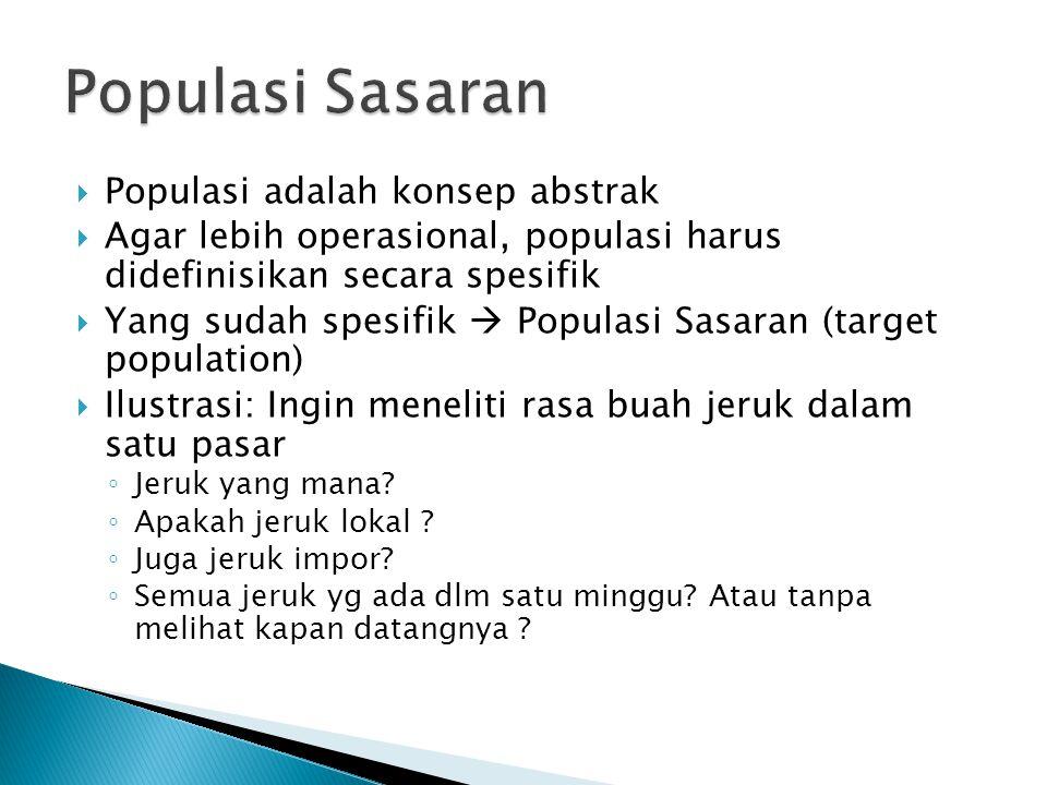 Populasi Sasaran Populasi adalah konsep abstrak