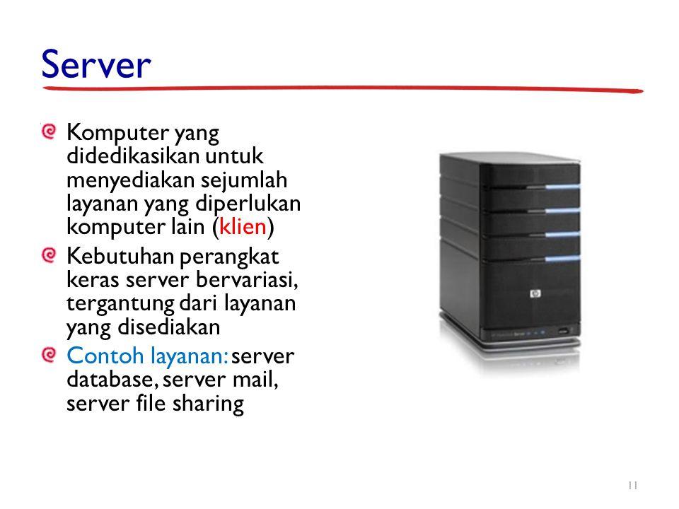 Server Komputer yang didedikasikan untuk menyediakan sejumlah layanan yang diperlukan komputer lain (klien)