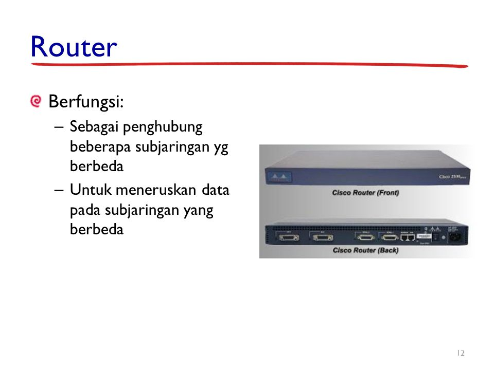Router Berfungsi: Sebagai penghubung beberapa subjaringan yg berbeda