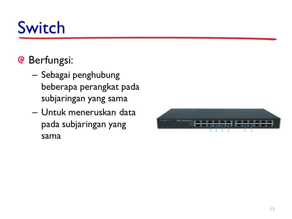 Switch Berfungsi: Sebagai penghubung beberapa perangkat pada subjaringan yang sama.