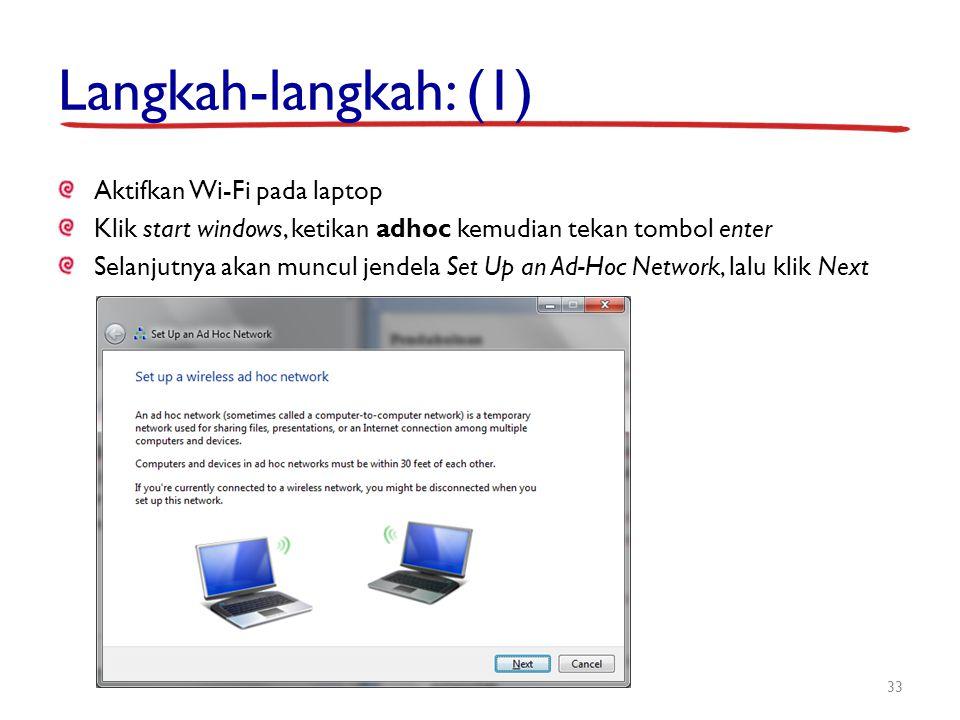 Langkah-langkah: (1) Aktifkan Wi-Fi pada laptop