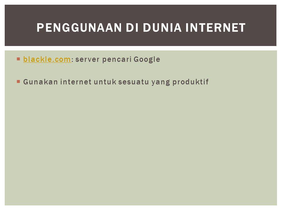 Penggunaan di dunia Internet
