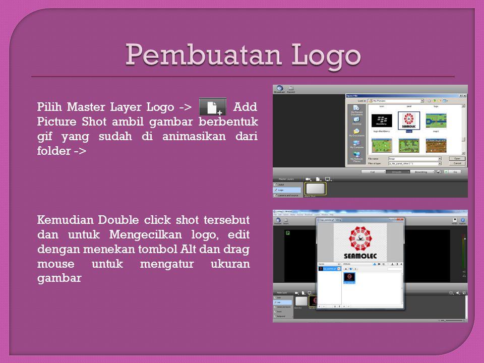 Pembuatan Logo Pilih Master Layer Logo -> Add Picture Shot ambil gambar berbentuk gif yang sudah di animasikan dari folder ->
