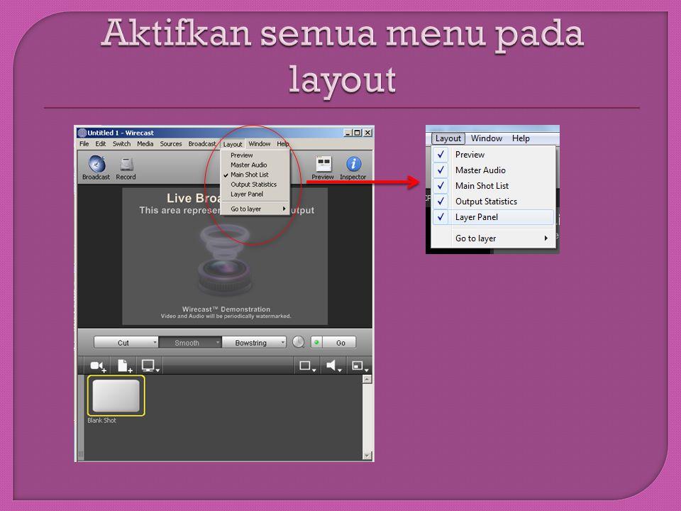 Aktifkan semua menu pada layout