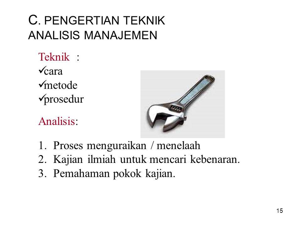 C. PENGERTIAN TEKNIK ANALISIS MANAJEMEN Teknik : cara metode prosedur