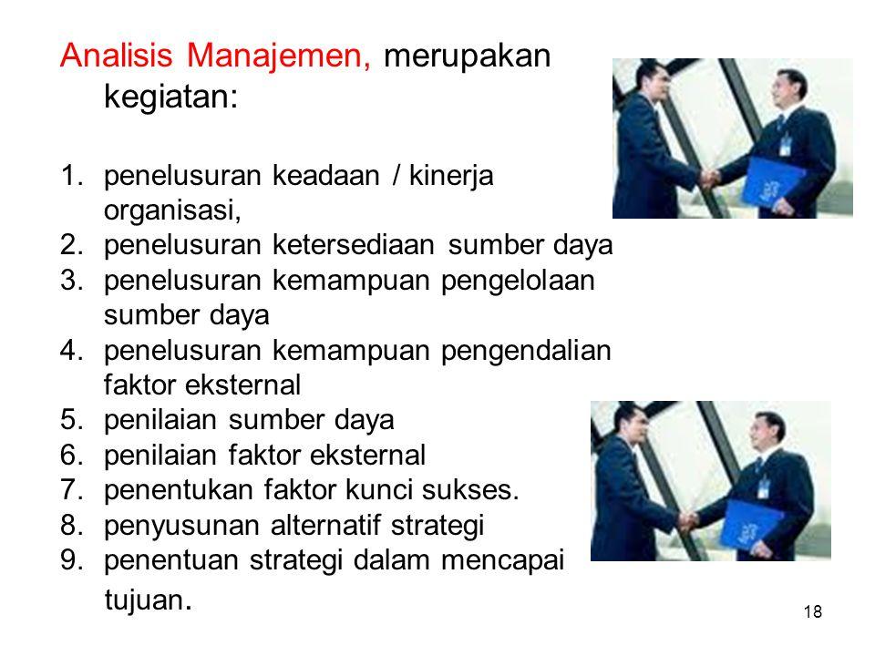 Analisis Manajemen, merupakan kegiatan: