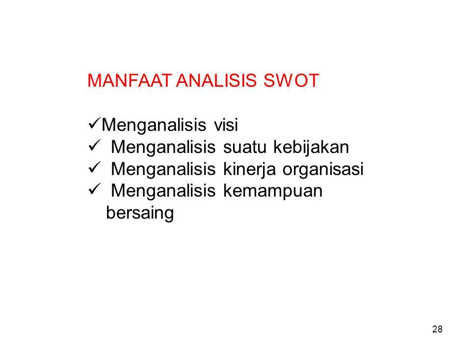 MANFAAT ANALISIS SWOT Menganalisis visi. Menganalisis suatu kebijakan. Menganalisis kinerja organisasi.