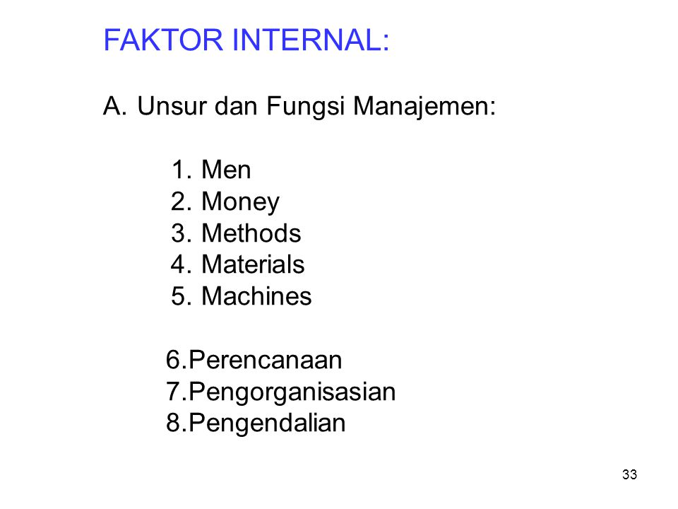 FAKTOR INTERNAL: Unsur dan Fungsi Manajemen: Men Money Methods