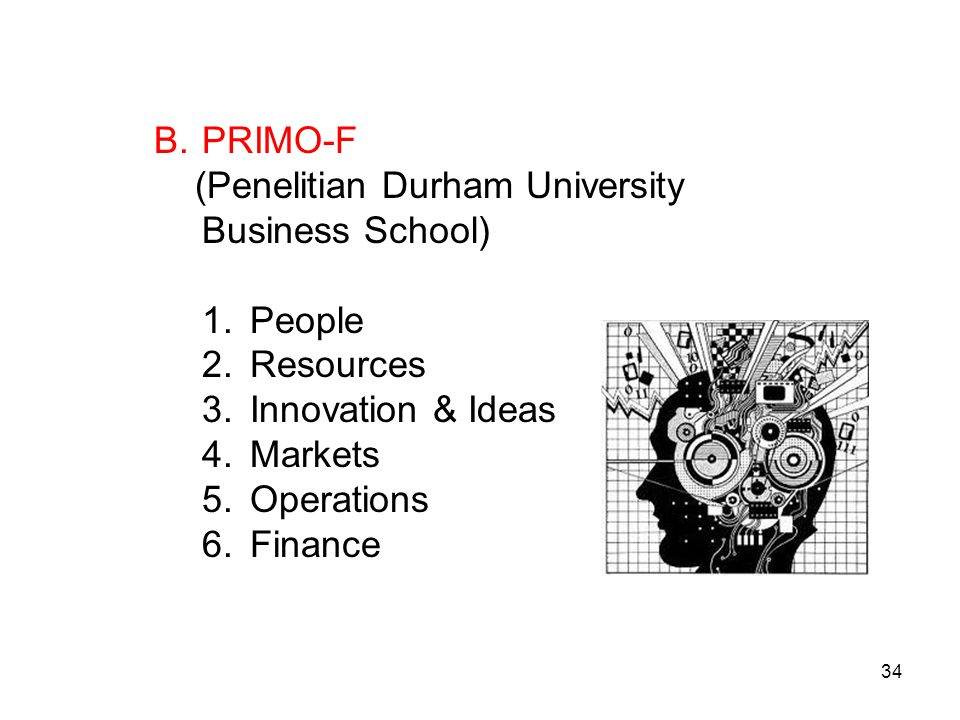 PRIMO-F (Penelitian Durham University Business School) People. Resources. Innovation & Ideas. Markets.