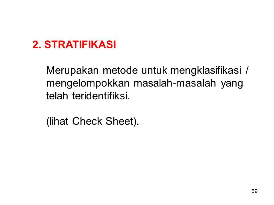 2. STRATIFIKASI Merupakan metode untuk mengklasifikasi / mengelompokkan masalah-masalah yang telah teridentifiksi.
