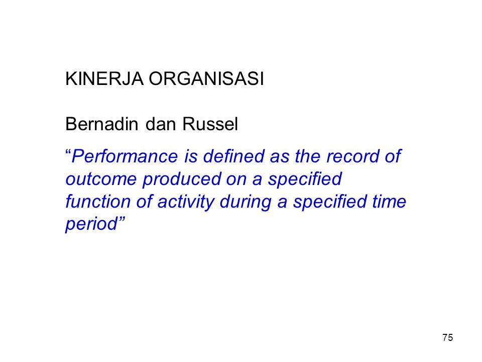 KINERJA ORGANISASI Bernadin dan Russel.