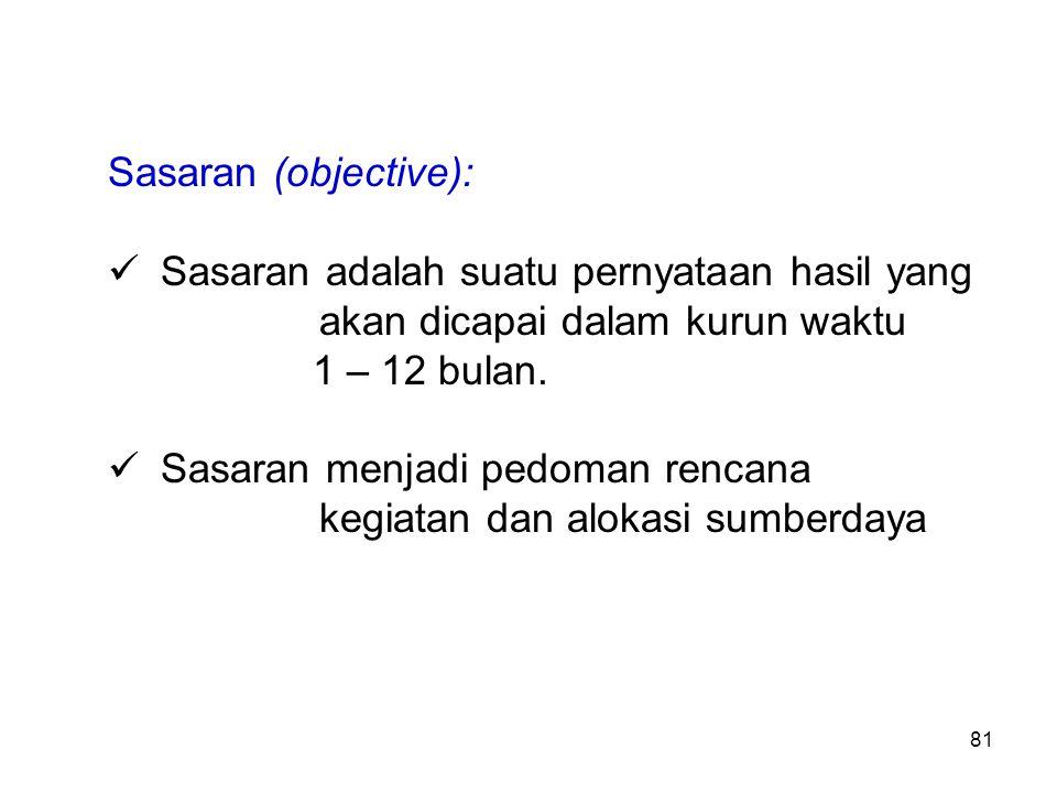 Sasaran (objective): Sasaran adalah suatu pernyataan hasil yang akan dicapai dalam kurun waktu.