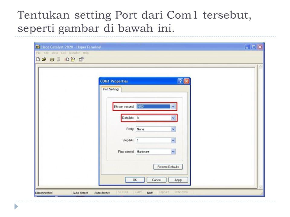 Tentukan setting Port dari Com1 tersebut, seperti gambar di bawah ini.