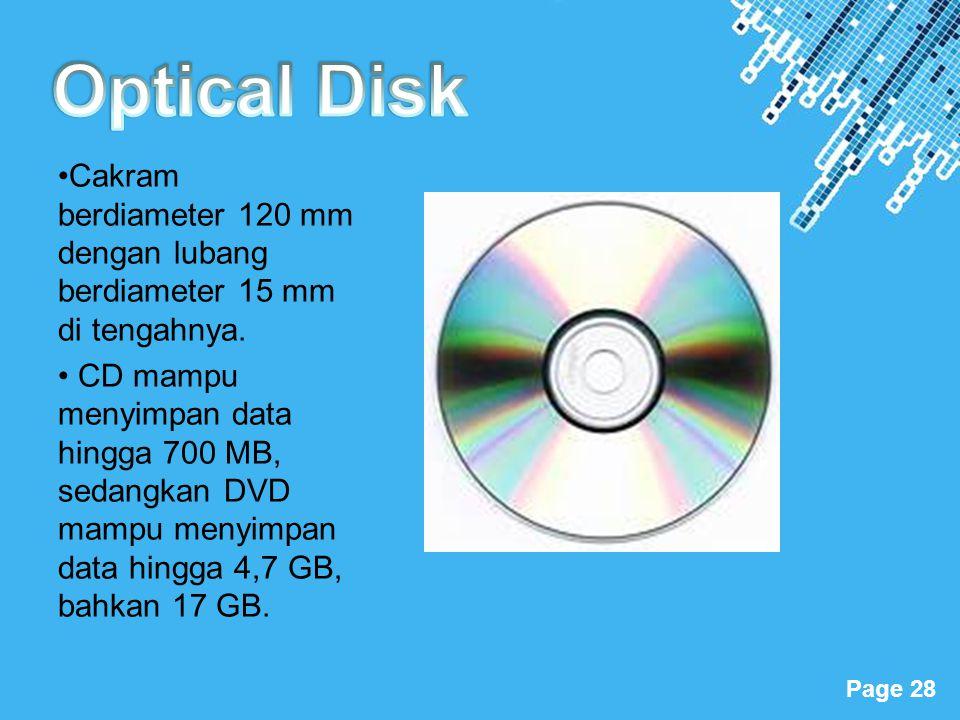 Optical Disk •Cakram berdiameter 120 mm dengan lubang berdiameter 15 mm di tengahnya.