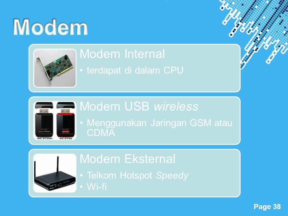 Modem Modem Internal terdapat di dalam CPU Modem USB wireless