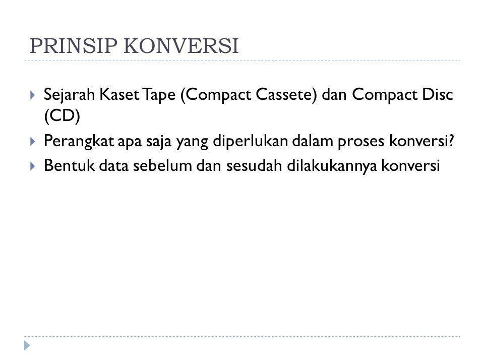 PRINSIP KONVERSI Sejarah Kaset Tape (Compact Cassete) dan Compact Disc (CD) Perangkat apa saja yang diperlukan dalam proses konversi