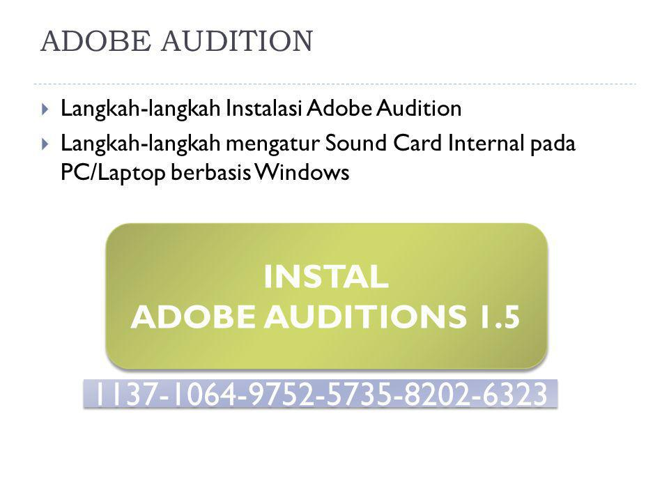 INSTAL ADOBE AUDITIONS 1.5