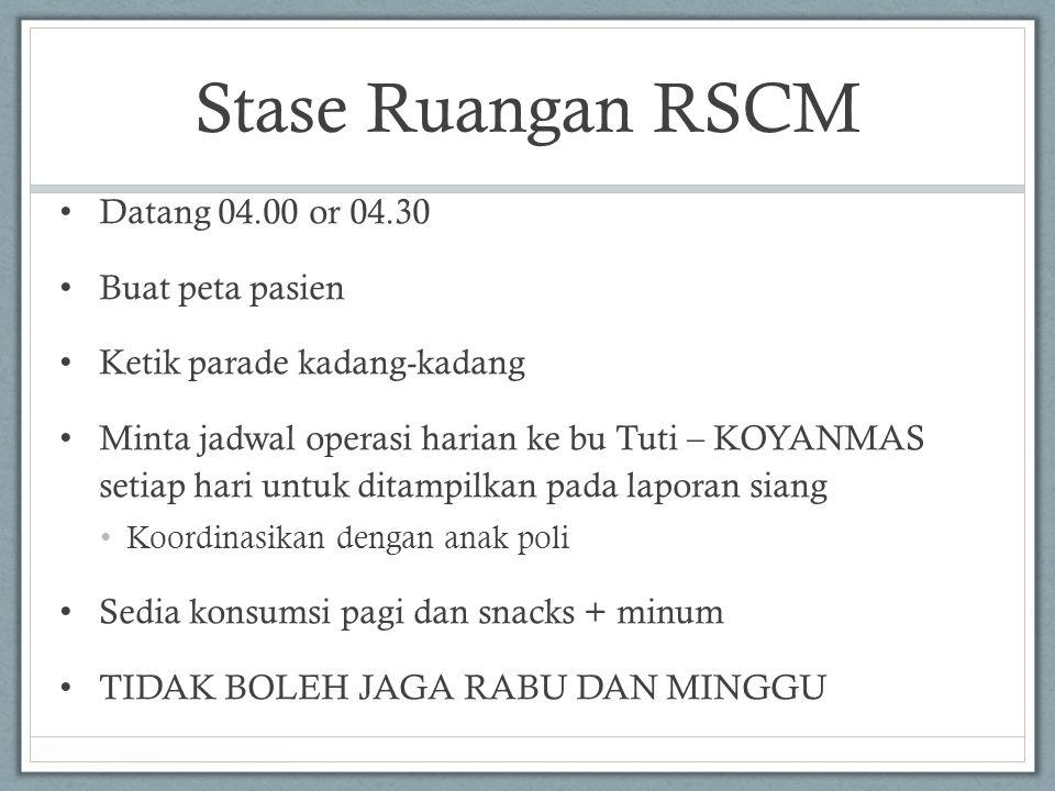 Stase Ruangan RSCM Datang 04.00 or 04.30 Buat peta pasien