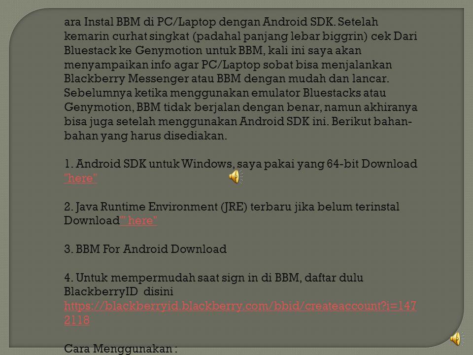 ara Instal BBM di PC/Laptop dengan Android SDK