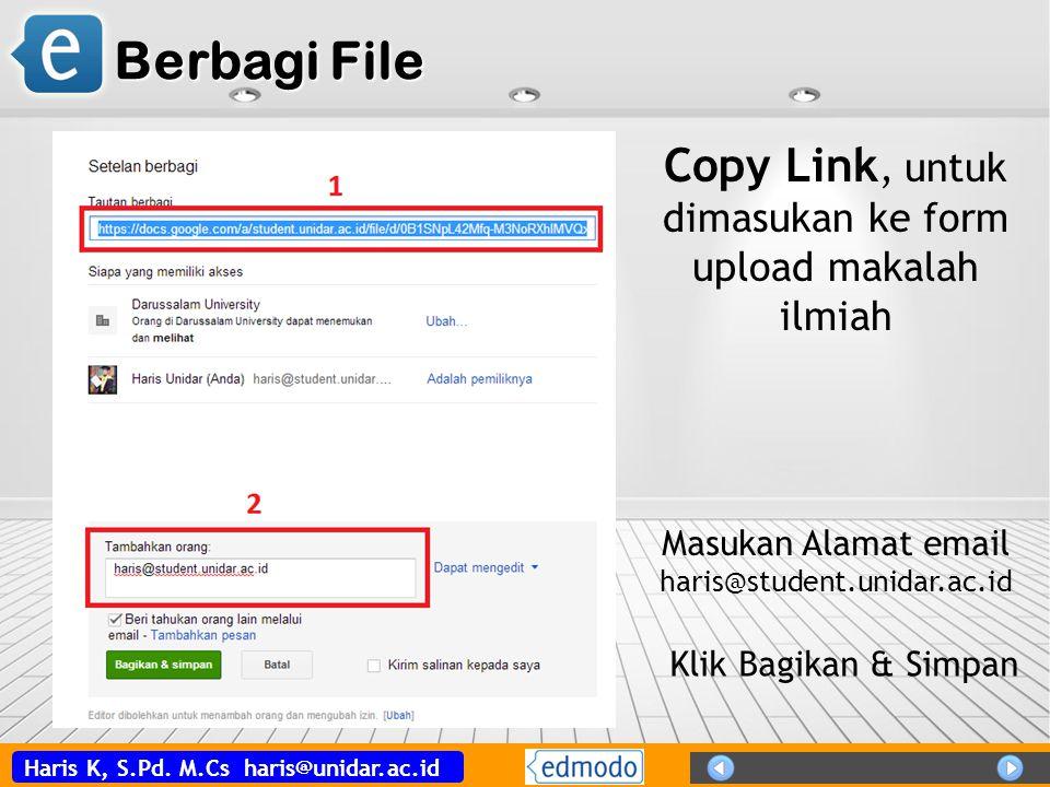 Berbagi File Copy Link, untuk dimasukan ke form upload makalah ilmiah