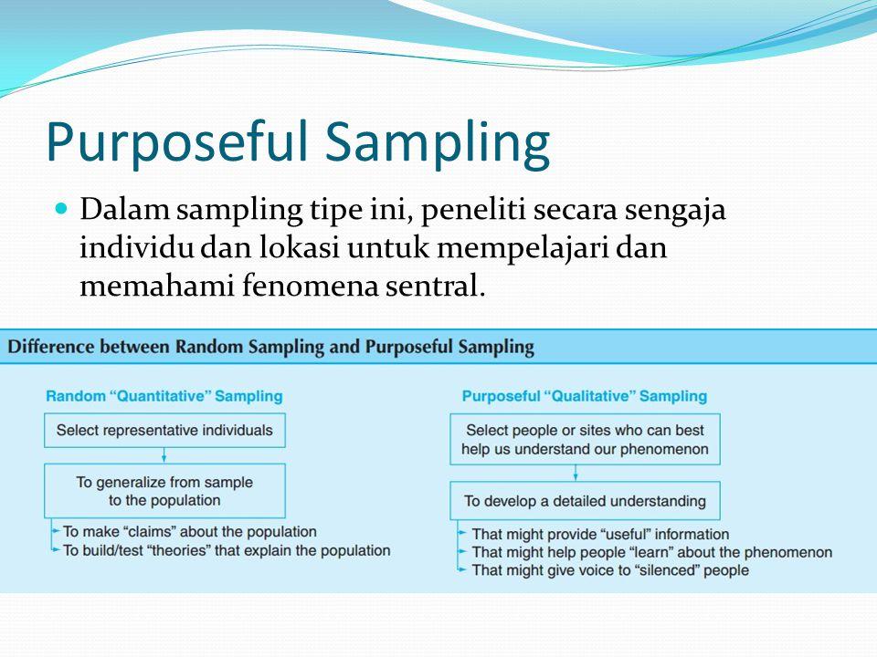 Purposeful Sampling Dalam sampling tipe ini, peneliti secara sengaja individu dan lokasi untuk mempelajari dan memahami fenomena sentral.