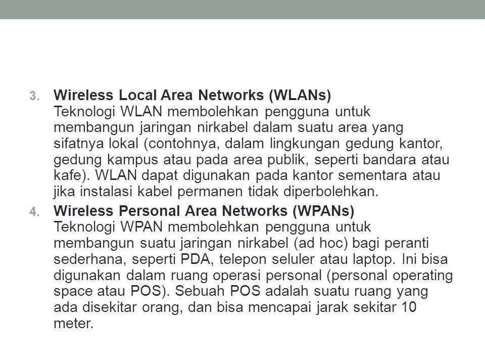 Wireless Local Area Networks (WLANs) Teknologi WLAN membolehkan pengguna untuk membangun jaringan nirkabel dalam suatu area yang sifatnya lokal (contohnya, dalam lingkungan gedung kantor, gedung kampus atau pada area publik, seperti bandara atau kafe). WLAN dapat digunakan pada kantor sementara atau jika instalasi kabel permanen tidak diperbolehkan.