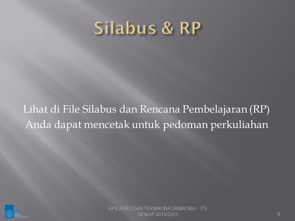 Silabus & RP Lihat di File Silabus dan Rencana Pembelajaran (RP)