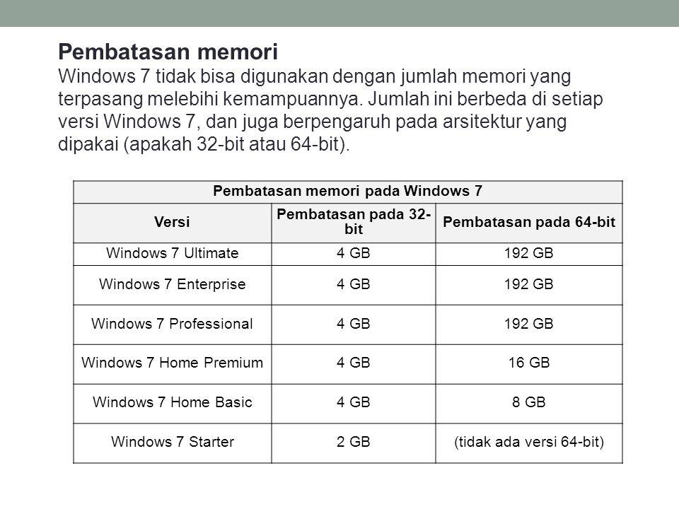 Pembatasan memori pada Windows 7
