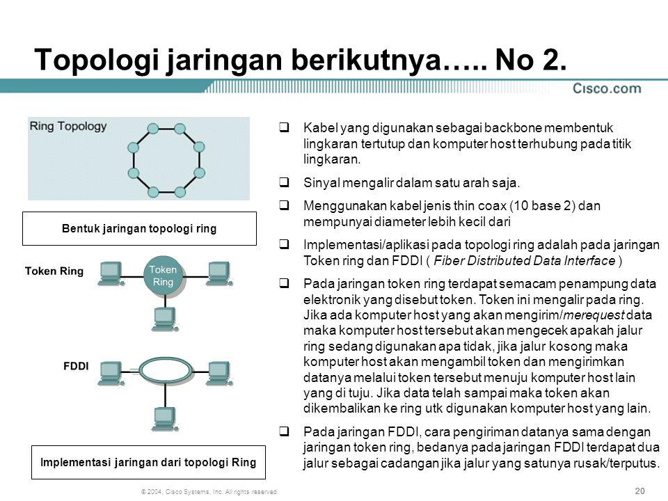 Topologi jaringan berikutnya….. No 2.