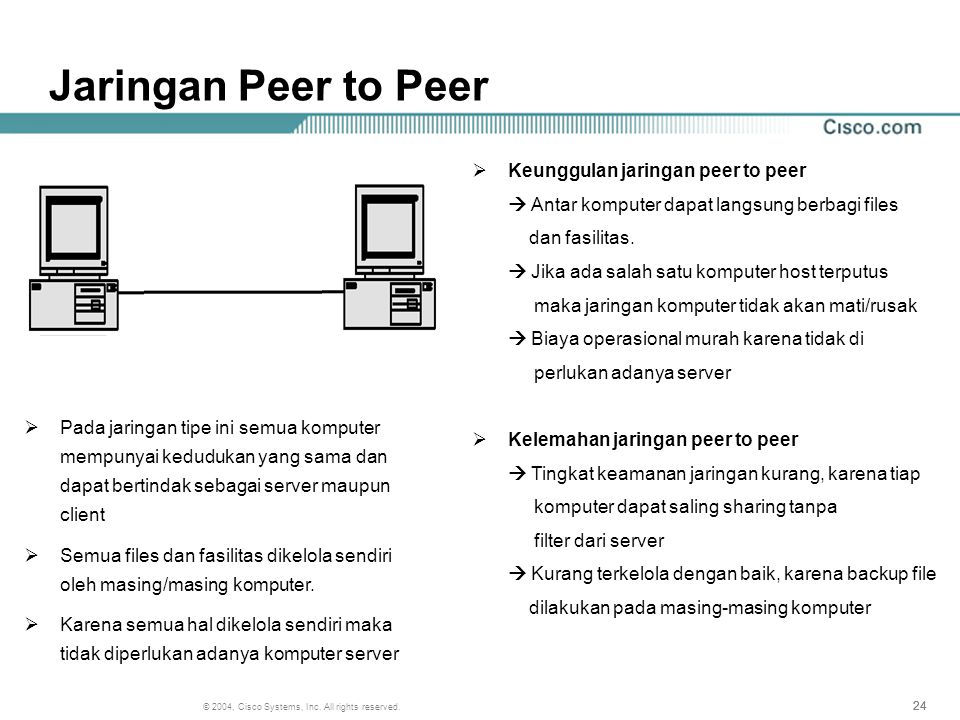 Jaringan Peer to Peer Keunggulan jaringan peer to peer dan fasilitas.