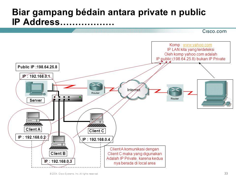 Biar gampang bédain antara private n public IP Address………………
