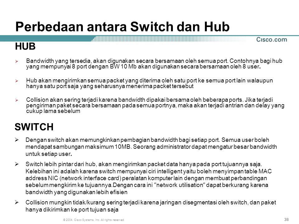 Perbedaan antara Switch dan Hub