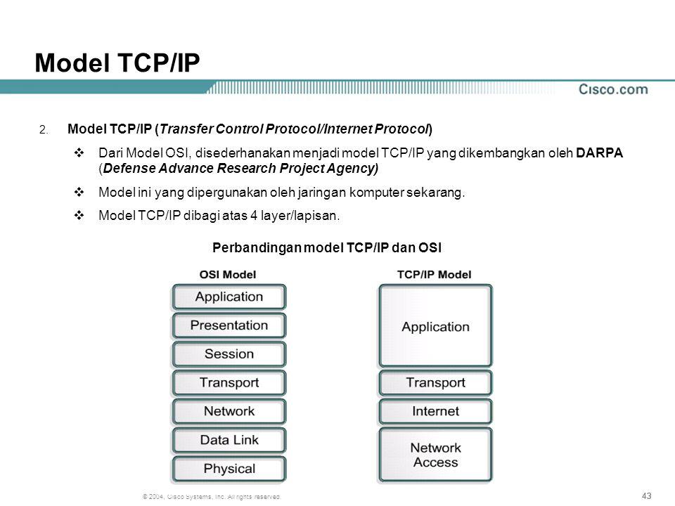 Perbandingan model TCP/IP dan OSI