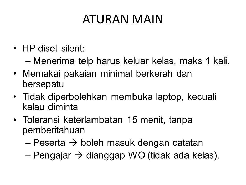 ATURAN MAIN HP diset silent: