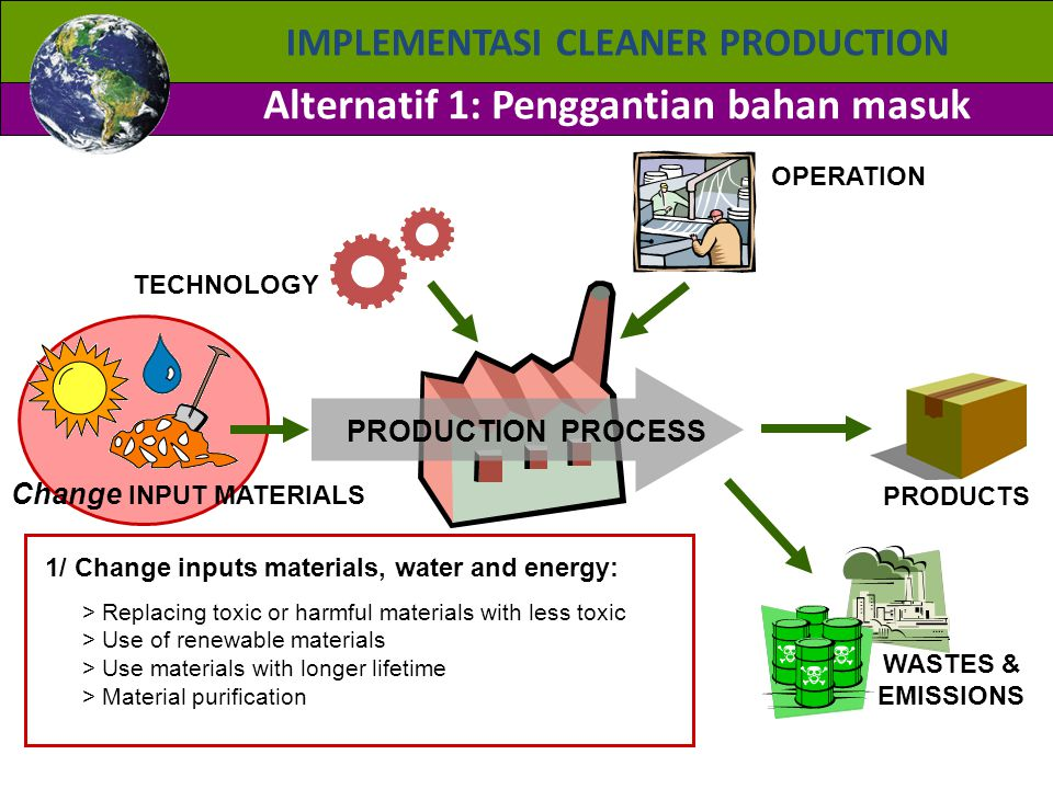 IMPLEMENTASI CLEANER PRODUCTION Alternatif 1: Penggantian bahan masuk