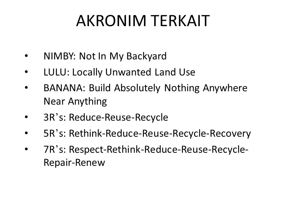 AKRONIM TERKAIT NIMBY: Not In My Backyard
