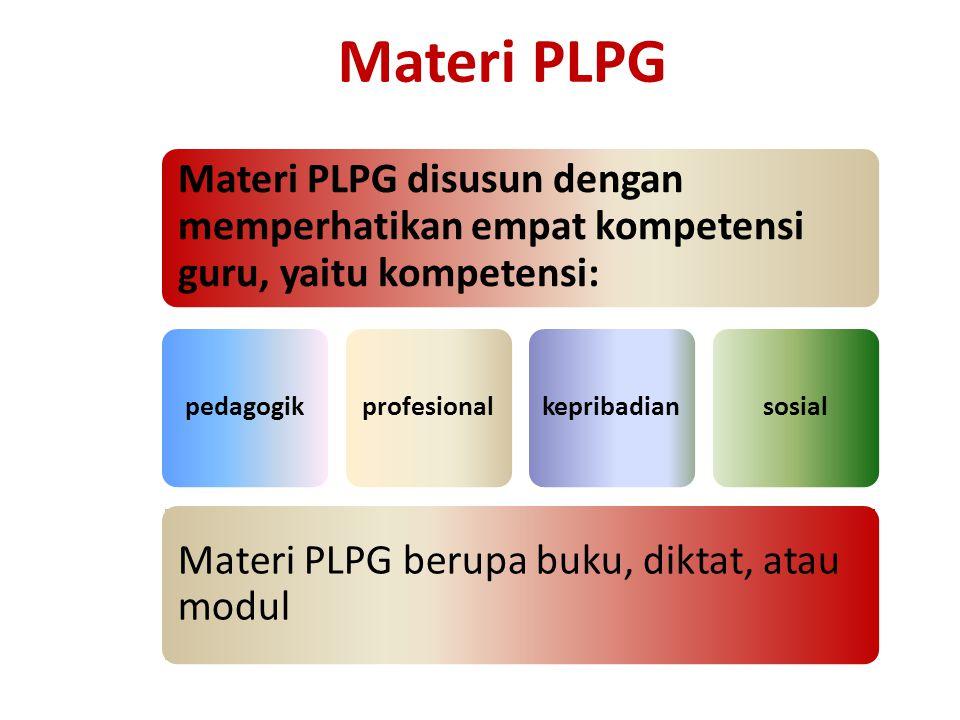 Materi PLPG Materi PLPG disusun dengan memperhatikan empat kompetensi guru, yaitu kompetensi: pedagogik.