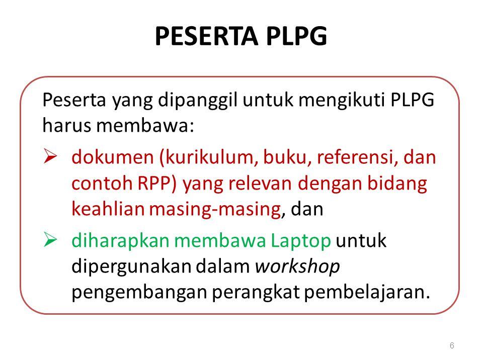PESERTA PLPG Peserta yang dipanggil untuk mengikuti PLPG harus membawa: