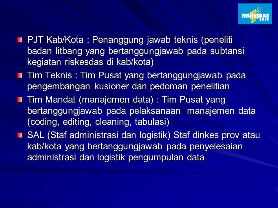 PJT Kab/Kota : Penanggung jawab teknis (peneliti badan litbang yang bertanggungjawab pada subtansi kegiatan riskesdas di kab/kota)