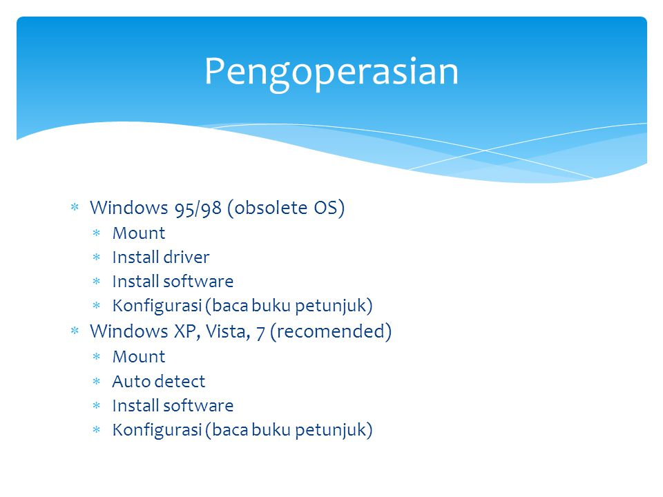 Pengoperasian Windows 95/98 (obsolete OS)