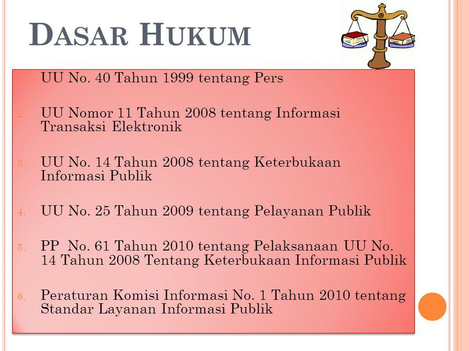 Dasar Hukum UU No. 40 Tahun 1999 tentang Pers