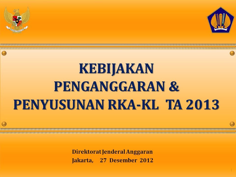 Direktorat Jenderal Anggaran Jakarta, 27 Desember 2012