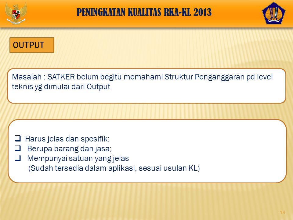 PENINGKATAN KUALITAS RKA-KL 2013