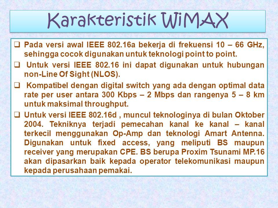Karakteristik WiMAX Pada versi awal IEEE 802.16a bekerja di frekuensi 10 – 66 GHz, sehingga cocok digunakan untuk teknologi point to point.